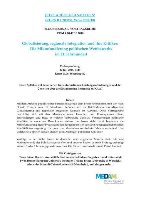 Kurzinfo zur Vortragsreihe Globalisierung, regionale Integration und ihre Kritiker